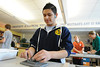 Walt Hester | Trail Gazette<br /> Jose Zarate, 14, works on a sculpture in his art class at the Estes Park Middle School on Wednesday. The sculpture will eventually be glazed and fired to become a 3D tile.