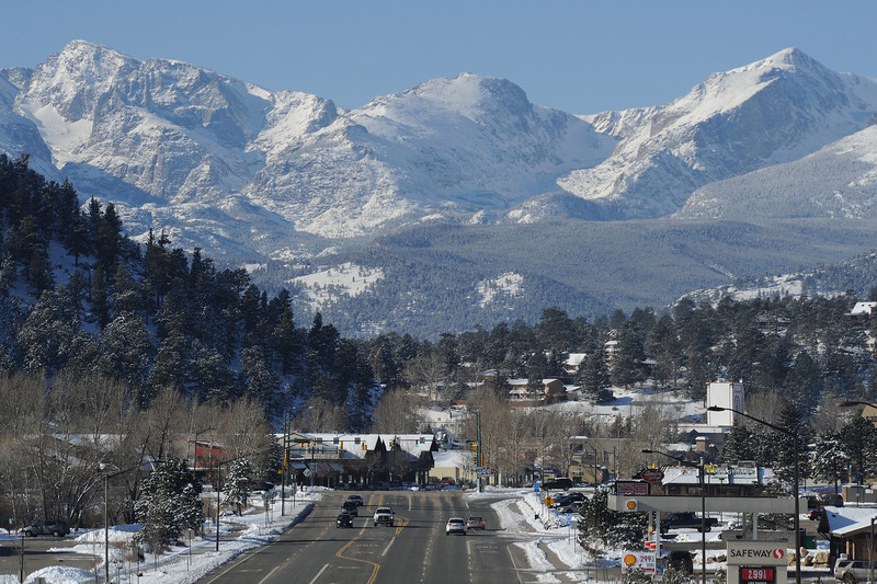 Walt Hester | Trail Gazette<br /> New snow clings to streets, trees and mountains in and around Estes Park on Sunday morning. The area saw about a foot of snow from last weeks storm.