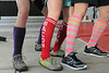 Walt Hester | Trail Gazette<br /> Lifters at CrossFit Estes Park show off their knee socks on Saturday. The high socks are popular with lifters as they protect shins from a bar while deadlifting.