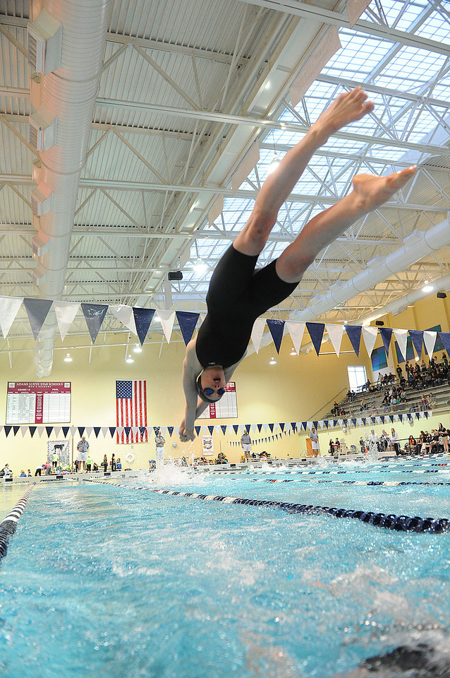 Walt Hester   Trail Gazette<br /> Emma Reins dives in for her leg of the 400-yard freestyle relay on Saturday. The Ladycats had two of three relays compete on Saturday.
