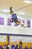 Walt Hester | Trail Gazette<br /> Estes Park flyer Bri Barlow take sto the air again during Tuesday's basketball game. The cheer squad is continuing to try new stunts for the home crowds.