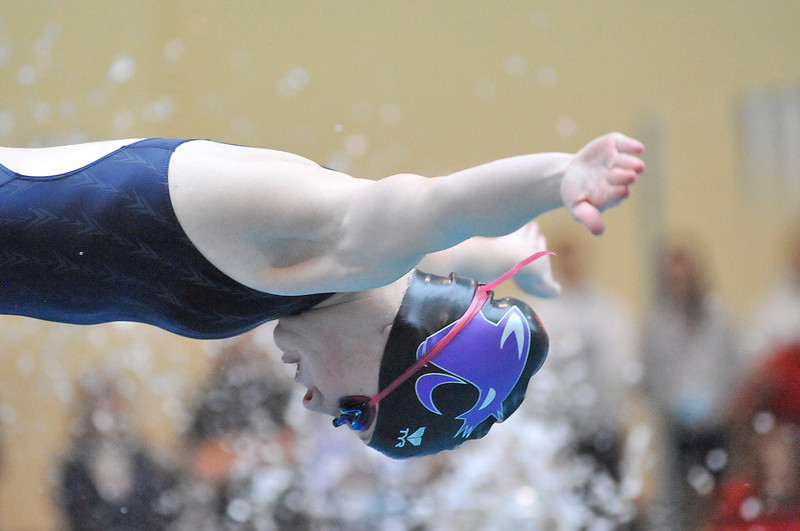 Walt Hester   Trail Gazette<br /> Senior swimmer Hanna Steadman starts her leg of the 200-yard medley relay. Steadman was rock-solid as a member of the relays throughout her time swimming for the Ladycats.