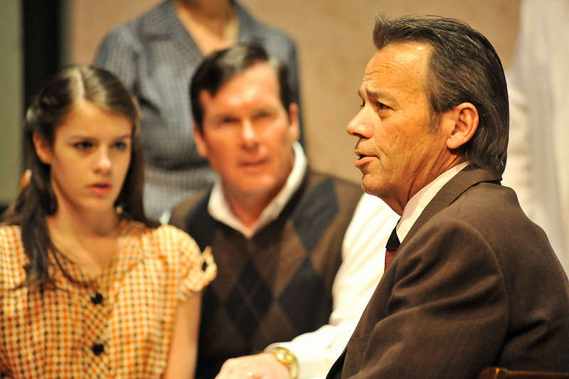 Walt Hester | Trail Gazette<br /> Tom Oats is Mr. Krawler, the man who hides Anne Frank and her family. The Diary of Anne Frank runs through the Saturday at the Estes Park High School auditorium.