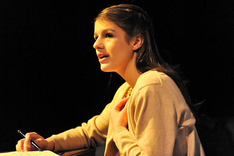 Walt Hester | Trail Gazette<br /> Jennefer Klink is, Anne Frank, in the Fine Arts Guid's production of The Diary of Anne Frank. The play, based on Anne's actual writings, runs from Friday, April 1, through Sunday, April 3 at the Estes Park High School auditorium. The diary, given to Anne on her 13th birthday, documents the two years she and her family lived in a small annex hiding from the Nazis in Holland during the Second World War.