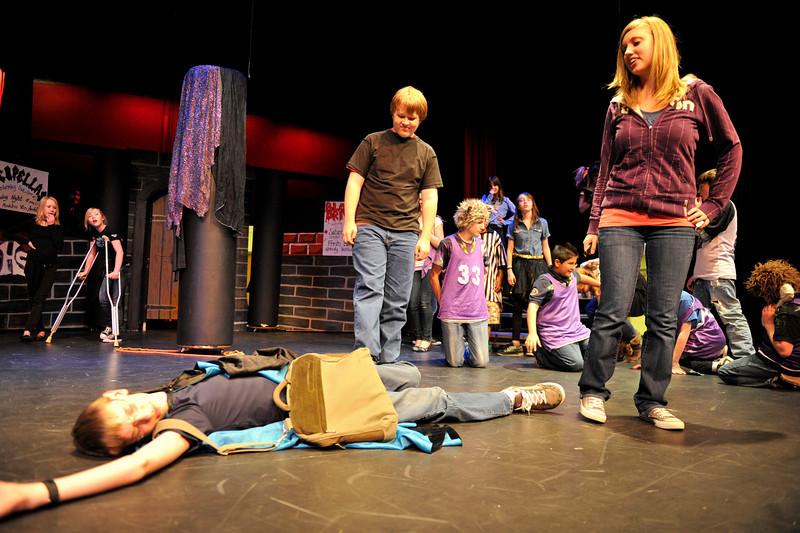 Walt Hester | Trail Gazette<br /> Ellen Westover and Barney Tredway look over a dead vampire during rehearsal on Wednesday for the Estes Park Middle School's porduction of New Kids at Vampire High. The parady of the romantic vampire movies runs this weekend at the high school's auditorium.