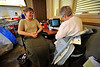 "Walt Hester | Trail Gazette<br /> Erika Norris of Timberline Medical Clinic prepares to donate at the Red Cross Blood Drive at the Estes Park Medical Center on Monday. ""I order so many units, I thought I should donate,"" said Norris."