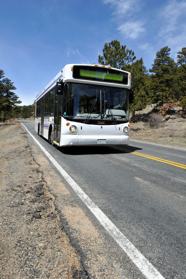 Walt Hester | Trail Gazette<br /> A park shuttle heads back into Moraine Park on Wednesday. Shuttle drivers are getting comfortable driving the big busses again after the long winter.