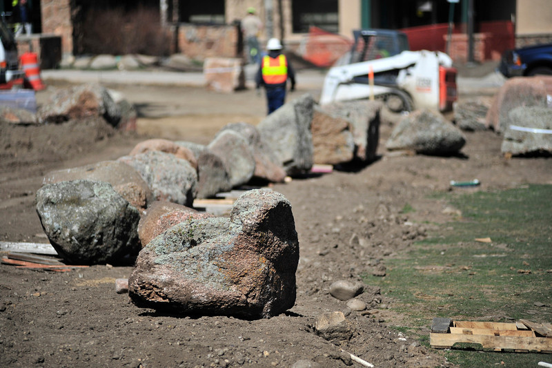 Walt Hester | Trail Gazette<br /> Large rocks await placement in Bon Park on Wednesday. The new look of Bond Park is taking shape as work continues.