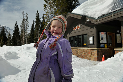 Walt Hester | Trail Gazette Sarah VanOrnum wears a smile and lots of snow clothes at Bear Lake on Tuesday. Bear Lake, at 9,500 feet, has 139 percent of the 30-year average snowpack, some 81 inches of snow.