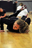 Walt Hester | Trail Gazette<br /> Kimmy Hansen twists and flops on the middle school gymfloor during warm ups for the high school track team's practice on Wednesday. Hansen has enjoyed a strong season, including qualifying for the state meet next week in Lakewwod.