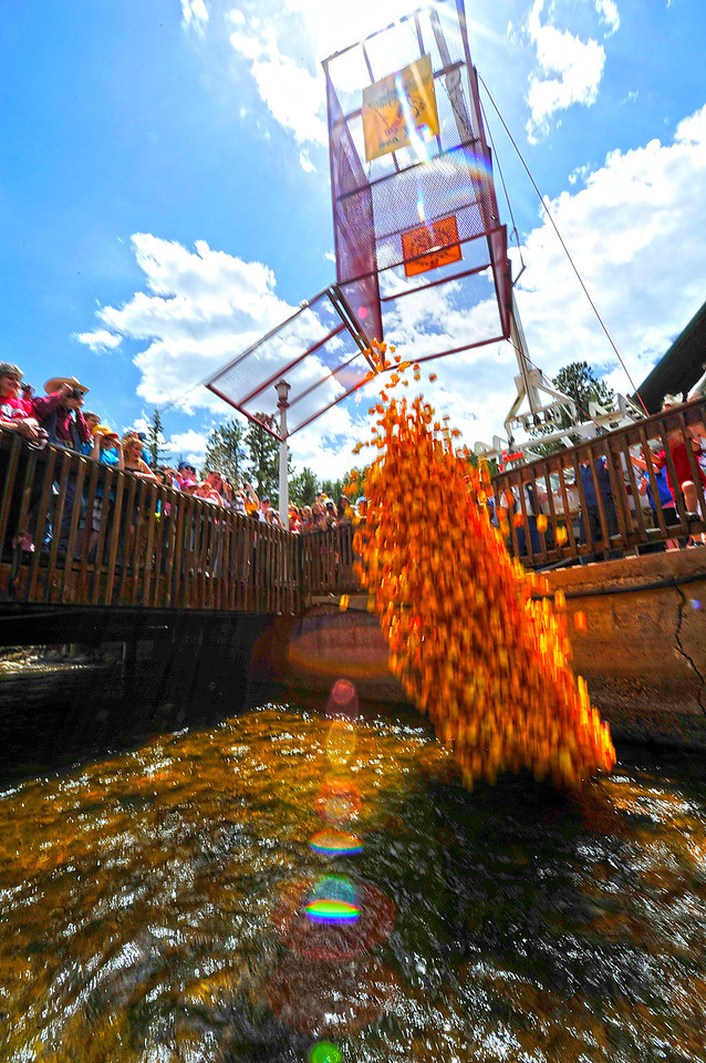 Walt Hester | Trail Gazette<br /> Ducks drop into the Fall River at Nicky's on Saturday. The Duck Race begins annually at 1 p.m. and lasts as long as it needs to, depending on the flow of the river.