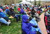 Walt Hester | Trail Gazette<br /> Die-hard jazz fans sit bundled and tarped against Saturday's miserable cold and rain. Sunday was unusually cold, as well, but dryer.