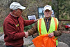 Walt Hester | Trail Gazette<br /> Estes Park mayor Bill Pinkham thanks an emotional Bill Dye in Drake on Thursday, for his service to Estes Park and America. Dye was honored by his friends, community and Denvers 7 Everyday Heroes.