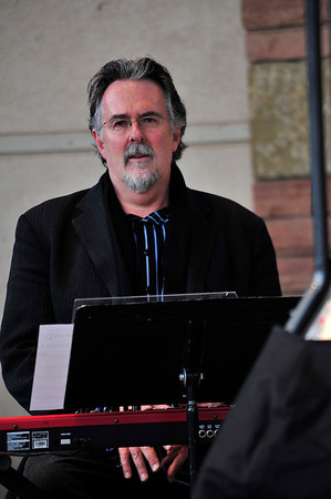 Walt Hester | Trail Gazette<br /> Keyboardist Eric Gunnison awaits his cue at Sunday's edition of the Jazz Fest. While Gunnison was backing Roberta Gambarini this weekend, he has played with giants of jazz, including Dizzy Gillespie and James Moody.