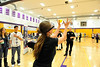 Walt Hester | Trail Gazette<br /> Ivy Anderson, 15, tries to catch a ball while wearing goggles that approximate the vision of someone impaired by alcohol. Resource officer Caleb Robertson and many more were at the Estes Park High School's carreer fair on Wednesday.