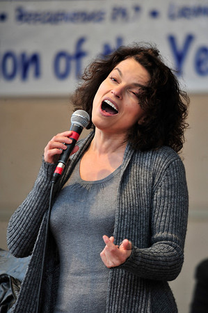 Walt Hester | Trail Gazette<br /> Singer Roberta Gambarini belts out a song during her set on Sunday. The Italian-born vocalist makes her home in New York.