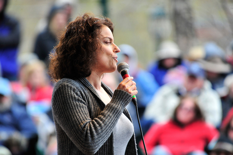 Walt Hester | Trail Gazette<br /> Vocalist Roberts Gambarini croons to a cold crowd in Performance Park on Sunday. The cold and occasionally wet weekend weather was not enough to keep jazz fans away from the annual Estes Park Jazz Festival.