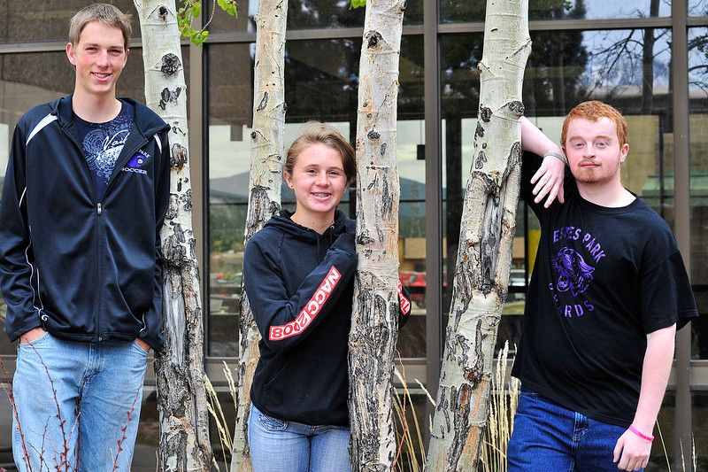 Walt Hester | Trail Gazette<br /> ROARS award winners junior Forrest Shafer, freshman Laurel Todd and senior Ben Morrison stand at the high school on Wednesday. Not pictured is sophomore Christian Newendorp.
