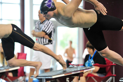 Walt Hester | Trail Gazette Estes Park senior Dylan Westover launches off the blocks at the boys 4A state swim meet on Saturday. Westover had a hand in both relays and collected a 6th place in the 50 yard free style and 11th in the 100 yard free style.