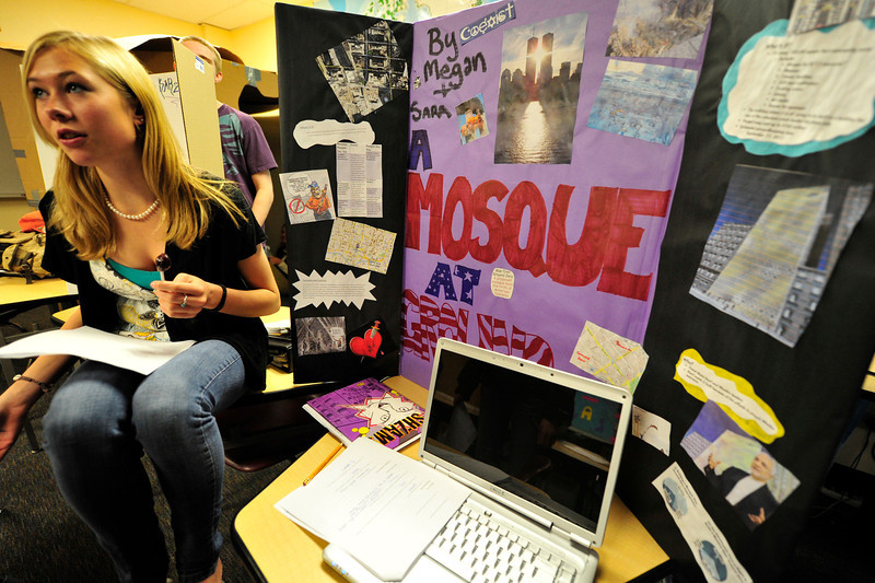Walt Hester | Trail Gazette<br /> Sara Speedlin, 17, explains the controversy surrounding the so-called Ground-Zero Mosque at the Estes Park High School on Wednesday. The History class researched and presented projects concerning terrorism.