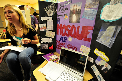 Walt Hester | Trail Gazette Sara Speedlin, 17, explains the controversy surrounding the so-called Ground-Zero Mosque at the Estes Park High School on Wednesday. The History class researched and presented projects concerning terrorism.