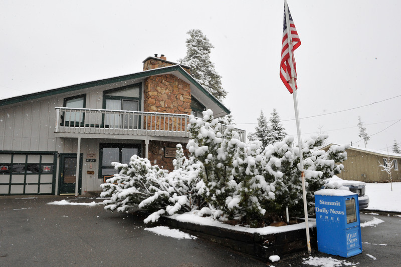 Walt Hester | Trail Gazette<br /> More new snow falls on a bed and breakfast in Silverthorn on Saturday. Some more of the 240 percent of average snow pack in and around Summit County and its ski resorts fell Friday and Saturday, making the trip to and from the state swim meet exciting.
