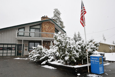 Walt Hester | Trail Gazette More new snow falls on a bed and breakfast in Silverthorn on Saturday. Some more of the 240 percent of average snow pack in and around Summit County and its ski resorts fell Friday and Saturday, making the trip to and from the state swim meet exciting.