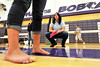Walt Hester | Trail Gazette<br /> Physical Theropist Lacy Irish checks a Ladycat's posture at a clinic at the Estes Park High School on Thursday. The clinic, organized by Dr. Aaron Florence of the Estes Park Medical Center, focused on preventing anterior cruciate ligament injuries in the school's female athletes, as girls are two to eight times more likely to suffer an ACL injury than boys performing the same activities.