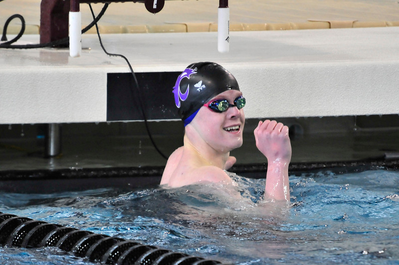 Walt Hester | Trail Gazette<br /> Estes Park's Forrest Beesley reacts to his fourth place finish in the fanals of the 100 yard free style on Saturday at the Colorado 4A State Swim Meet. Beesley also earned fifth place in the 50 yard free style and helped the 200 free relay to third and the medaly relay to a nineth-place finish.