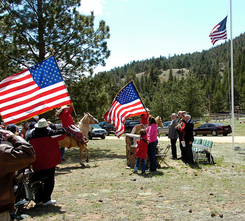 The Freedom Riders presented a salute to the flag during Monday's Memorial Day observance at the Estes Park Memorial Gardens.