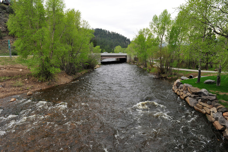 Walt Hester | Trail Gazette<br /> The Big Thompson River rolls out of downtown Estes Park toward Lake Estes on Wednesday. The Town of Estes Park is preparing for a possible rise in the river as the spring runoff begins.