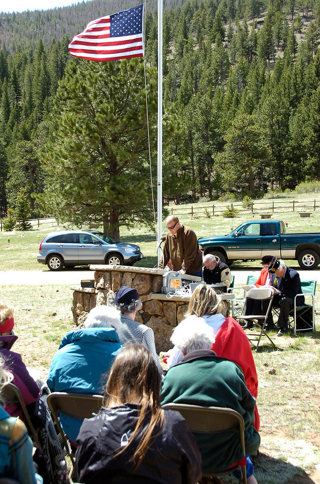 Scott Weber, pastor of the Christian Church of Estes Park presenting the invocation Monday during the May 30 Memorial Day observation at Estes Park Memorial Gardens.