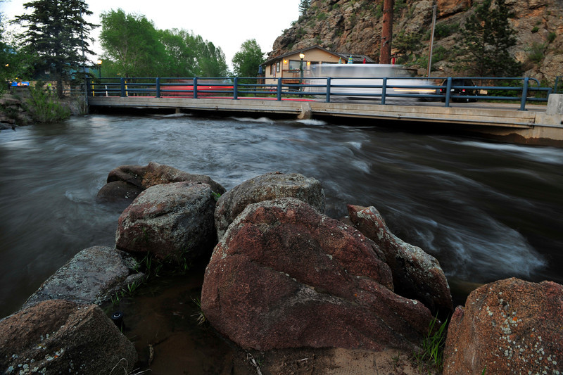 Walt Hester | Trail Gazette<br /> The Fall River and Big Thompson collide at Riverside Plaza in Estes Park on Monday. Larimer County officials are watching the Big Thompson River, but aren't terribly concerned about it's rise, at this point.