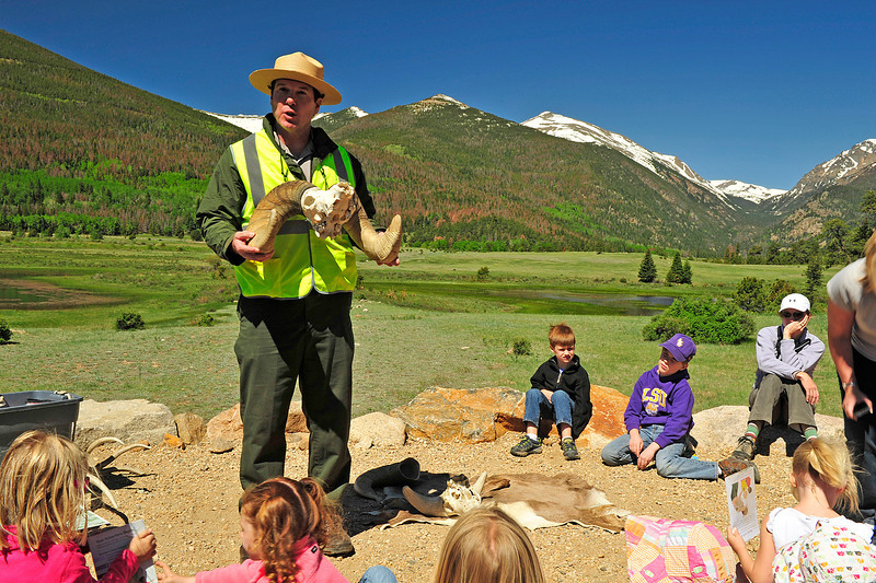 Walt Hester | Trail Gazette<br /> Rocky Mountain National Park ranger Don Stewart tells visitors of the horns of the bighorn sheep in Horseshoe Park on Wednesday. Rangers hold the talks at the Sheep Lakes all summer long.