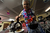 Walt Hester | Trail Gazette<br /> Anne Toft wears Hawaiin dress while pouring coffee at the first Senior Center's breakfast buffet on Saturday. The monthly summer buffet is a fund raiser for the senior center.