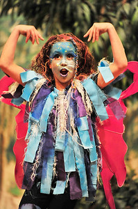 Walt Hester | Trail Gazette Chloe Burke, 10, of Este Park portrays the spirit, Ariel, in the Soggy Noodles Production of William Shakespeare's The Tempest on Friday.