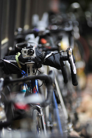 Walt Hester | Trail Gazette<br /> A remote trigger camera sits atop handle bars outside Estes Park High School on Sunday. Cyclists can document their whole ride with such cameras.
