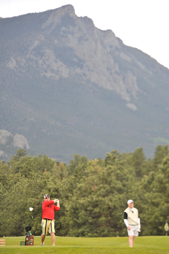 Walt Hester | Trail Gazette<br /> George Kohake drives from the fourth tee on Friday at the 15th annual Rotary Club of Estes Park Scholarship Golf Tournament.