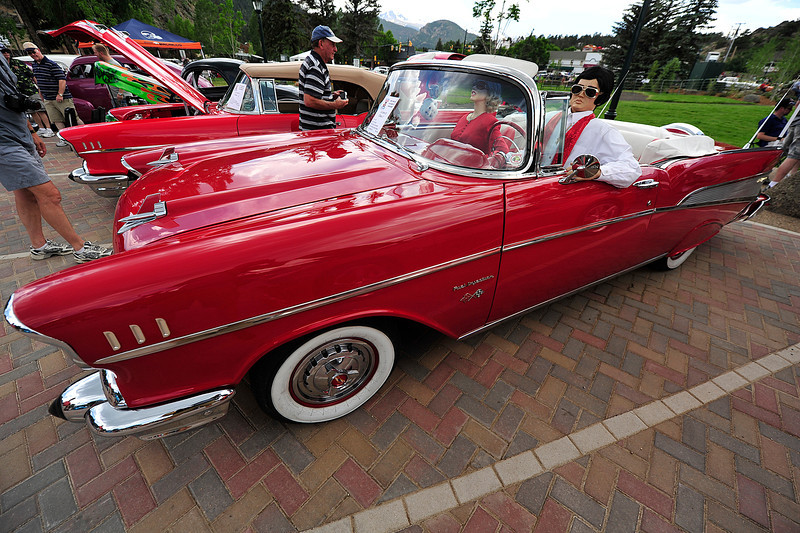 Walt Hester   Trail Gazette<br /> A classic Chevy convertable carries Elvis and Marilyn on Monday. The classic car owners have creative ways of catching attention at the show.
