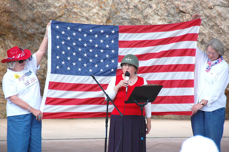 Karen Kataline, speaking on General Patton, during the July 2 freedom rally held in Performance Park.