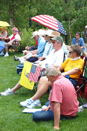Flags provided a message at the July 2 freedom rally held in Performance Park.