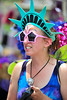 Walt Hester | Trail Gazette<br /> The self-proclaimed bubble fairy wears her stars and Lady Liberty head gear on Monday. The fairy and a friend painted faces and encouraged young visitors to play ith bubbles.
