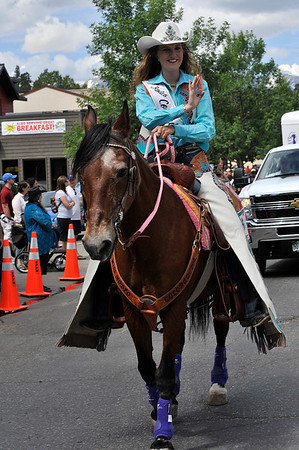 Walt Hester | Trail Gazette<br /> Miss Rodeo Colorado, Kellsie Purdy, waves to the Estes Park croud during the Rooftop Rodeo Parade. Purdy is also a former Rooftop Rodeo Queen.