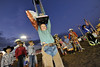 Walt Hester | Trail Gazette<br /> Ross Reynolds of Cheyenne celebrates his Thursday night win at the Rofftop Rodeo mutten busting. Mutten busting crowns a new winner every night of the rodeo, and everyone who enters receives a bag of prizes.