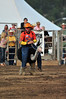 "Walt Hester | Trail Gazette<br /> Frankie ""Punkintown"" Smith rides an ostrich into the arena on Thursday night. Punkintown has been clowning professionally for 15 years."