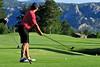 Walt Hester | Trail Gazette<br /> A golfer prepares to drive toward Lumpy Ridge on the Estes Park Public 18-Hole Course on Tuesday.
