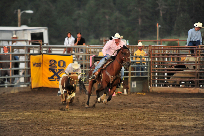 Walt Hester | Trail Gazette<br /> Hank Bounds of Palisade, Colo. ropes a steer's head, and awaits Travis Bounds to rope the steer's heels. Team roping is the only event in rodeo inwhich participants win or lose as a team.