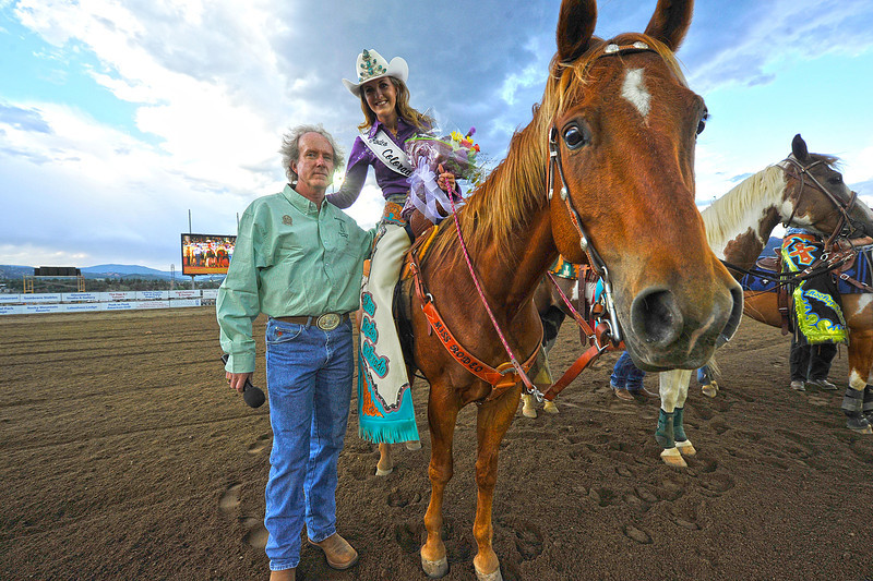Walt Hester | Trail Gazette<br /> Miss Rodeo COlorado, and former Rooftop Rodeo Queen Kellsie Purdy enjoys a moment with her father, Mark, before the Friday night edition of the rodeo. Purdy will compete this December for the title of Miss Rodeo America at the Wrangler National Finals Rodeo in Las Vegas.