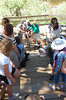 State officials and volunteers cut the ribbon officially reponeing the fishing pier located on the Big Thompson River between Estes Park and Drake.