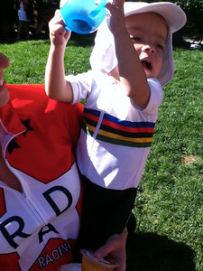 Walt Hester   Trail Gazette A young cycling fan sports the stripes of World Champion in Vail on Saturday. Mom wore the jersey of Rad Racing, a name inspired by the team captain's favorite movie.